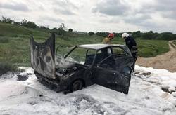 В Новой Одессе на ходу загорелся и полностью сгорел легковой автомобиль (Фото)