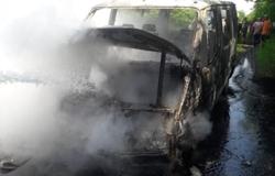 В Новоодесском районе полностью сгорел микроавтобус (Фото)